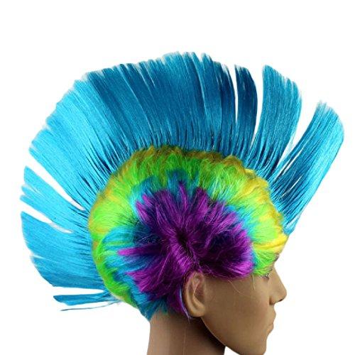 eval Masquerade Punk Mohawk Irokesenfrisur Frisur Cockscomb Wig, himmelblau (Verrückte Frisuren Für Halloween)