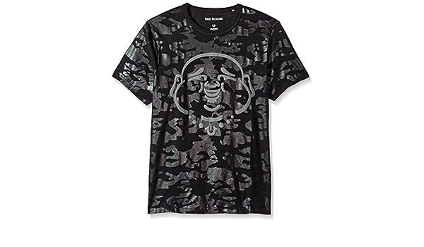 dce2fbca True Religion Men's Tonal Camo Print Buddha Face Short Sleeve Tee T-Shirt,  Black, Medium: Amazon.co.uk: Clothing