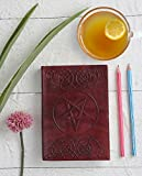 #3: Store Indya Handcrafted 2018 Leather Bound Personal Organizers Notebook Journal with 72 Unlined Earth-friendly pages Vintage Pentagram - Dark Brown ( 7 x 5 inches )