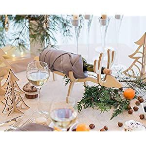 Hölzerner Flaschenhalter - Hölzerner Wein Flaschenregal - Elch Flaschenhalter - Weihnachten Weinregal - Weihnachtsgeschenk - Weihnachtselch - Santa Elch Weinregal