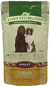 James Wellbeloved Dog Food Adult Pouch Turkey with Rice and Vegetables '10 Pouches x 150 g'