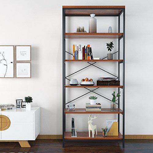 Himimi Bücherregal Industriestil 5-stöckigen Eckregal Wandregal für Wohnzimmer Schlafzimmer Küche
