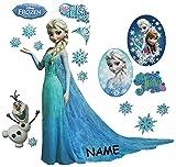 großes Set: Wandtattoo / Wandsticker - Disney die Eiskönigin - incl. Name - Aufkleber Wandaufkleber für Mädchen - völlig unverfroren Elsa Arendelle / Poster - Postersticker - Frozen - Prinzessin Olaf