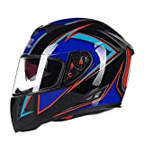 LL Doppel-Visor Full Face Motorrad-Helm Motorrad Full Helm Outdoor Männer und Frauen,1,L
