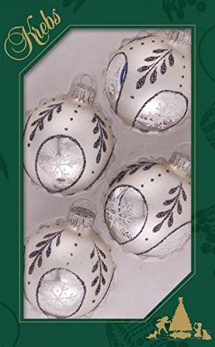 Krebs Glas Lauscha - Silber Christbaumkugeln mit Glitzer und Schneeglöckchen - 7 cm - 4 Stück