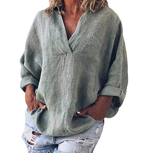 CAOQAO Damen Sexy Einfarbig Mode Plus Größe Solide Lässig Leinen V-Ausschnitt Bluse T-Shirt Atmungsaktives Laufshirt(L,Grau)