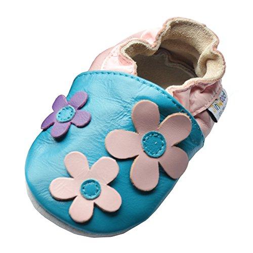 Produktbild bei Amazon - Jinwood designed by amsomo Babyschuhe - Lederpuschen - Hausschuhe - Krabbelschuhe - Leder Schläppchen - Mädchen - Jungen Gr. 17-36