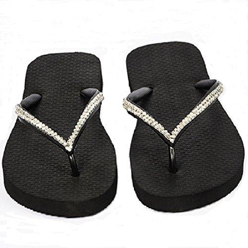 Designer Luxus Flip Flops-Chanclas by Simone Herrera-Slim Line-Rosa-Riemchen Sandale Zehentrenner (Negro/Schwarz, 39/40)