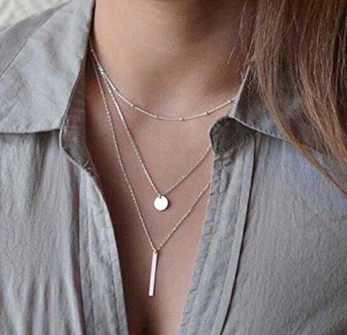 Primi Collar moderno PriMI para mujer con doble cadena con colgante de estrella y luna