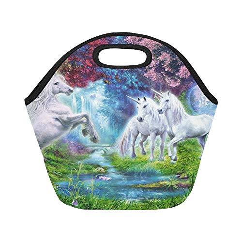 Isolierte Neopren-Lunchtasche, Horned White Horse Fantasy Art Blooming Trees Flow Large Size Wiederverwendbare Thermo-Lunch-Taschen für Lunch-Boxen für Outdoor, Arbeit, Büro, Schule