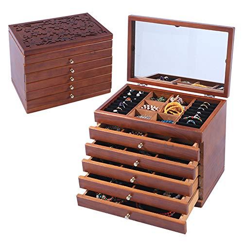 Renjianfeng cofanetto portagioie grande femminile in legno, scatola portagioie organizer, specchiato con cassetti rimovibili scatola per medicazione multiuso 31,5 * 20 * 24 cm,marrone
