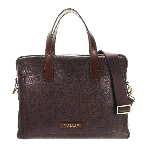 The Bridge Plume Mix Uomo Shopper Tasche Leder 40 cm Laptopfach marrone
