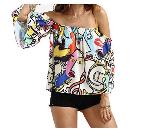 Gesichts-print-top (Vovotrade ✿✿Beliebte Frauen Casual Man Gesicht Print Flare Hülse trägerlosen Tops Bluse (Size:XXL, Multicolor))