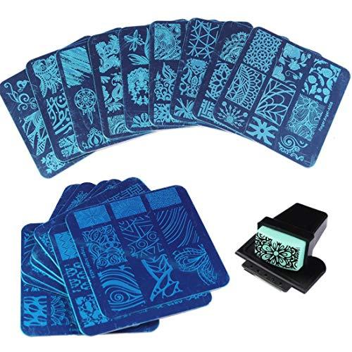 20 Stück verschiedene Designs Nail Art Stamping Platten 1 Stück rechteckig grün Gummi Stempel DIY Nail Art Stempel Plates Maniküre Schablone Nail Art Werkzeuge -