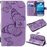 Hozor Samsung Galaxy S4/I9500 Handyhülle, Retro Großer Schmetterling Muster PU Kunstleder Ledercase Brieftasche Kartenfächer Schutzhülle mit Standfunktion Magnetverschluss Flip Cover Tasche, Lila