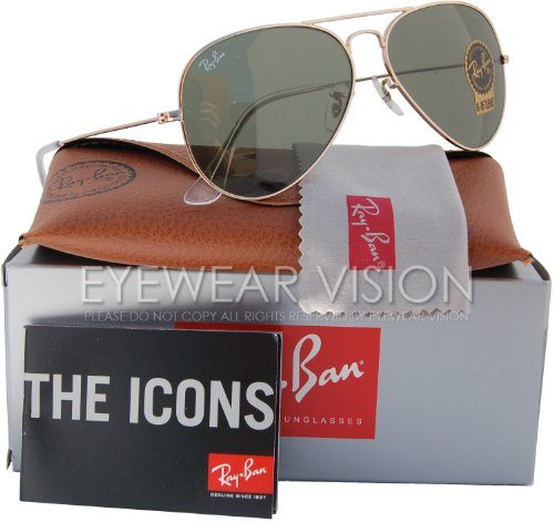 Ray-Ban RB3025 Classic Aviator Sunglasses Gold/Crystal Green (L0205) RB 3025 58mm (Gold Aviator Classic Ray-ban)