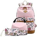 BLUBOON Schulrucksack Damen Canvas Schulranzen Rucksack Mädchen mit Blumendruck (Rosa 3pcs)