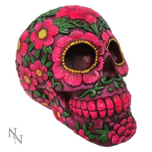 Salvadanaio Petali Sugar Skull Nemesis Now (Multicolore/Viola) - Taglia Unica