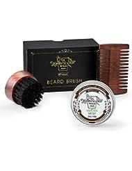 BFWood Bartgarnitur für Männer– Handliche Reise-Bartbürste aus Wildschweinborsten + Stabiler Ebenholz-Bart-Kamm + Bart-Balsam 60g Sandelholz-Duft