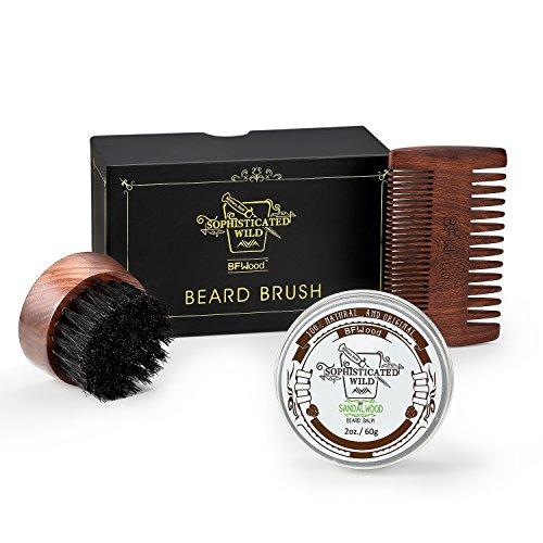 BFWood Kit de Barba para Hombres – Cepillo de Barba Cerdas de Jabalí para Viaje + Peine de Barba Madera de Ébano + Bálsamo de Barba Aroma de Sándalo 60g