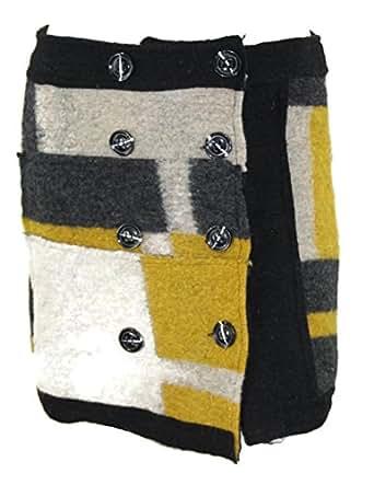 #4123 Damen Designer Winter Woll Rock Wollrock Stiftrock Filz Braun Schwarz M L XL (L (38), Gelb)