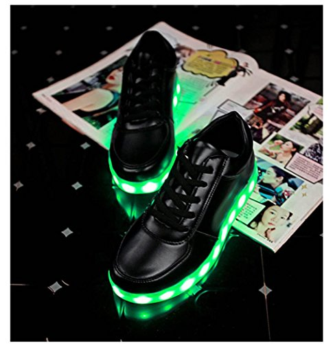 Bescita Unisex LED Paar Schuhe USB-Ladekabel Glow Schuhe Mode Tanz Sneaker Hip-Pop Hell Blinkende Leuchten Schwarz