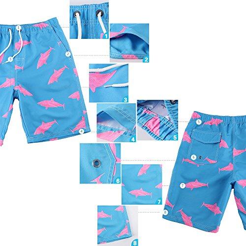 Eastlion Flacher Winkel Schwimmen Hosen Herren Kurze Hose Heiße Quelle Schwimmen Hosen Quick-Trocknen Lose Strand Hose Blau