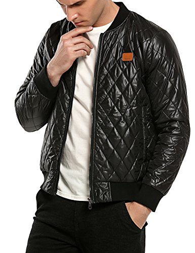Coofandy Herren Bomberjacke Steppjacke Diamond Winter Zipper Outdoor Jacke - 2