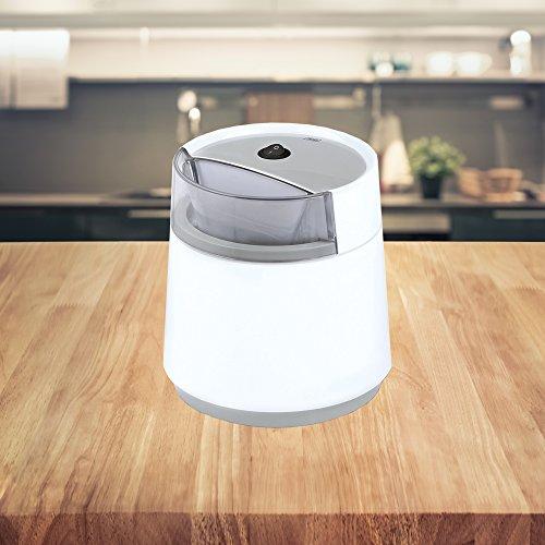 Gelato Eismaschine Weiß/Grau inkl. Rezeptvorschläge für Speiseeis, doppelwandiger Thermobehälter • Speiseeismaschine • Eisbereiter • Frozen Yogurt • Joghurt • Milchshake • Sorbetmaschine (Single - weiss/grau)