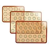SUPER KITCHEN Backmatte aus Silikon für Macaron Keks - 3-Stück Set (Rot), Antihafte Matte für Makronen/Kuchen/Brot, 42x29,5 cm; 29, 2cm×21,6 cm