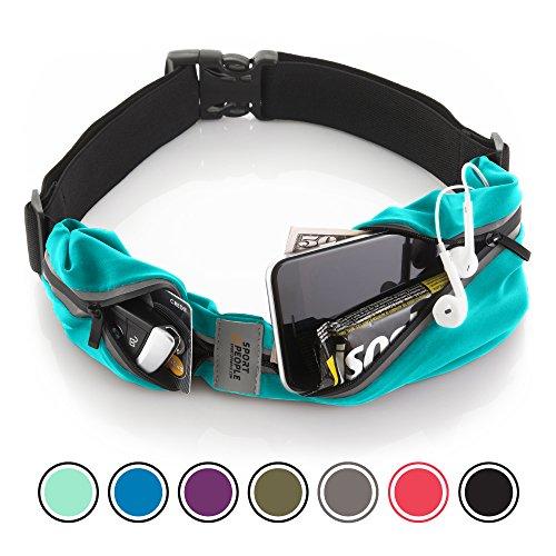 Sport2People Running Belt - Cinturon de running iPhone 6, 7 Plus para corredores - Mejor equipo de running para ejercicios de manos libres - cinturon para correr con dos bolsillos (Turquoise)