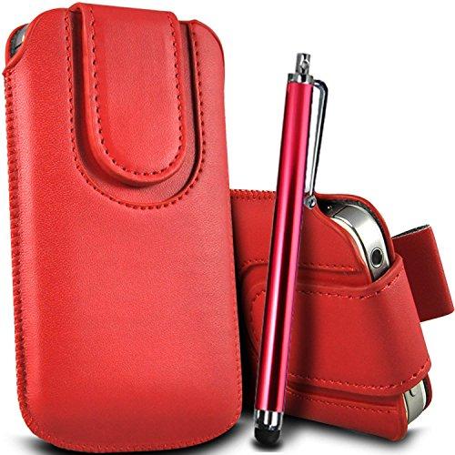 Brun/Brown - Samsung Galaxy S4 mini plus I9195I Housse et étui de protection en cuir PU de qualité supérieure à cordon avec fermeture par bouton magnétique et stylet tactile pour par Gadget Giant® Rouge/Red & Stylus Pen