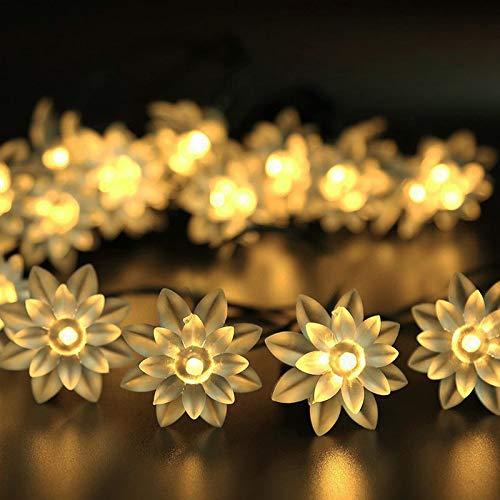 betriebene Multi Farbe 50LED-Doppelte Lotus-Lichterkette Garten Lichterkette/LED Wasserdicht Dekorative Lichter für Outdoor, Garten, Weihnachten, Urlaub Party,warmwhite ()