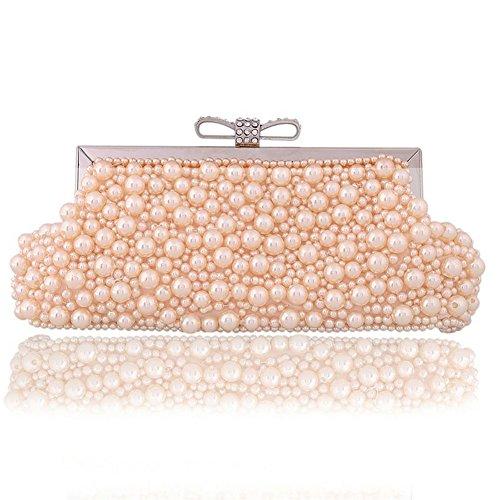 ERGEOB® Donna Clutch sacchetto di sera borsetta fatto a mano perla Clutch diamante Anello fibbia Donna Clutch taschino colore champagne