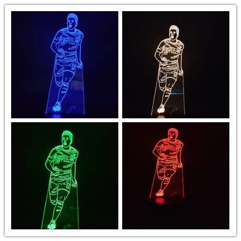 jiushixw 3D Acryl Nachtlicht mit Fernbedienung Farbwechsel Tischlampe Fußballstar Kevin Braun Bright Base Kinder Geschenk Touch Lampe Tischlampe