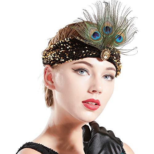 Coucoland 1920s Stirnband Damen Pfau Feder Turban Hut Stil 20er Jahre Flapper Haarband Great Gatsby Damen Fasching Kostüm Accessoires (Gold)