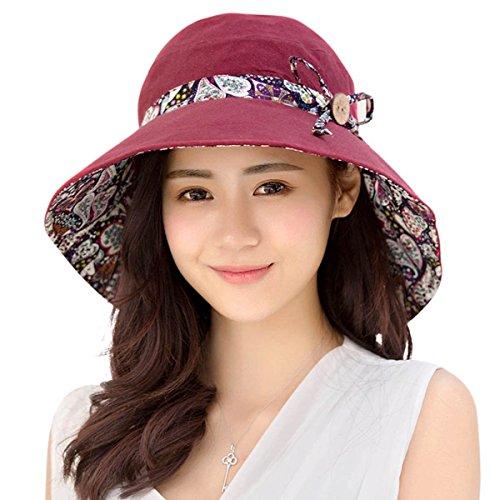 HAPEE Damen Sonne Hüte Sommer Reversibel UPF 50+ Strandhüte Faltbar Breit Rand Kappe (Sonne Damen Hut)