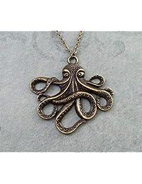 e6cdbfa7691 Octopus Collier très grande pieuvre Bijoux Pendentif Collier Octopus Kraken  Collier pieuvre Cadeau Bronze Octopus Charm