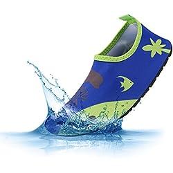 PADGENE Chaussures D'eau Enfants Garçons Filles Bébés Unisexe Chaussures Plage Piscine Yoga Natation - Mer Bleu - XXS/EU 22-23 (Pour Bébé)