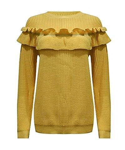 Ladies Frill Detail Ruffle Chunky Knitted Jumper UK Size 8-14 (S/M (UK 8-10), Mustard)