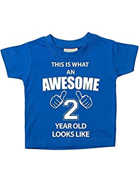 This Is What An Awesome 2anni Looks Like blu Maglietta 2nd compleanno Baby per bambini disponibile in taglie...