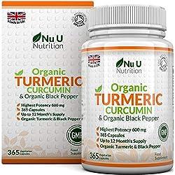 Cúrcuma Curcumina Orgánica y Pimienta Negra Orgánica, 365 Cápsulas (Suministro Para 1 Año) | Máxima Potencia 600 mg - Fabricada en el Reino Unido por Nu U Nutrition