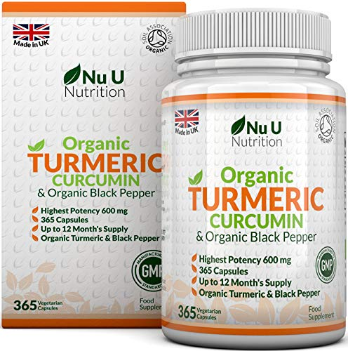 curcuma curcumina biologica 600mg, 365 capsule (scorta per 1 anno) con pepe nero biologico | adatto a vegetariani e vegani | certificato biologico soil association e prodotto in uk da nu u nutrition