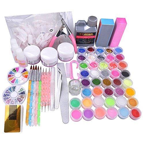 Vanyda Nail Art Kits Set ideales Starterset und Professional ,42tlg,18 verschiedenen Farben Dekorationset (Komplettes Set Acryl-nagel-kit)