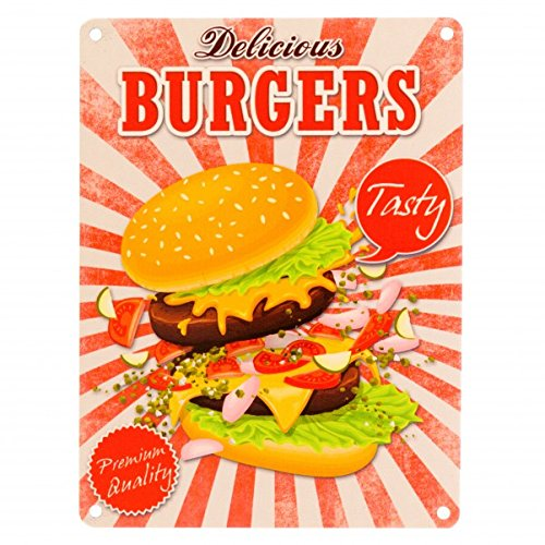 Das Fast Food Delicious Burgers Metallschild in 15x20 cm