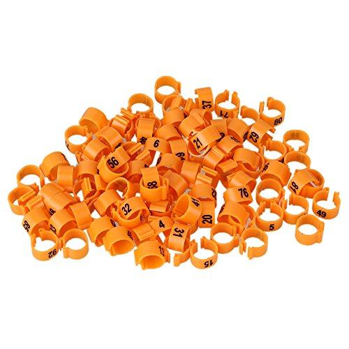 BQLZR Orange 9,5 mm Haehnchen Pigeon Hen Nummerierte Leg Band Gefluegel Taube Vogel-Kueken-Ente Parrot Clip Ringe Packung mit 100 Stueck (Vogel Bein Bänder)