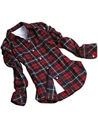 Coffetime-Frauen Button Down Casual Lapel Hemd Plaids Checks Flannel Tops Bluse