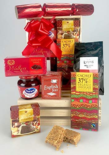 Christmas Indulgent Taster Food Hamper Box - Wooden Crate - Fine Food Selection Coffee, Tea, Pudding, Cachet Organic Chocolate etc