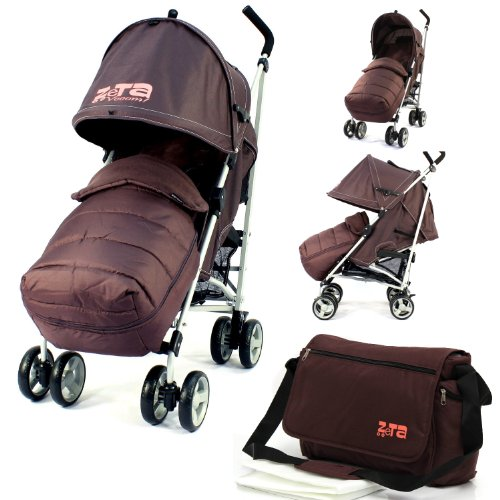Baby Stroller Zeta Vooom Buggy Pushchair - Hot Chocolate (Brown) Complete With + Deluxe 2in1 footmuff + Changing Bag + Raincover