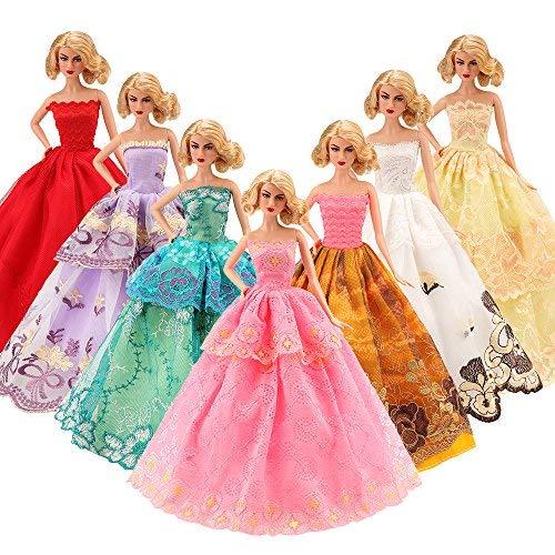 Miunana 5 pcs moda premium fatto a mano morbido matrimonio abiti vestiti per la festa per barbie dolls bambola per regalo (ce certificazione e iva incluso)